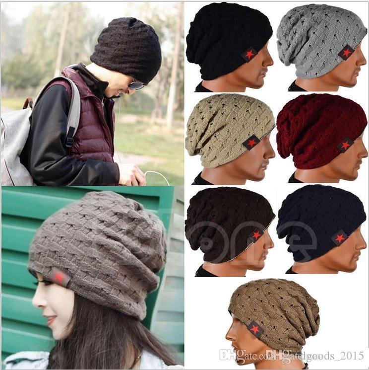 Winter Warm New Fashion Men Skull Chunky Women Knit Beanie Reversible Baggy Cap Warm Unisex Hat b275
