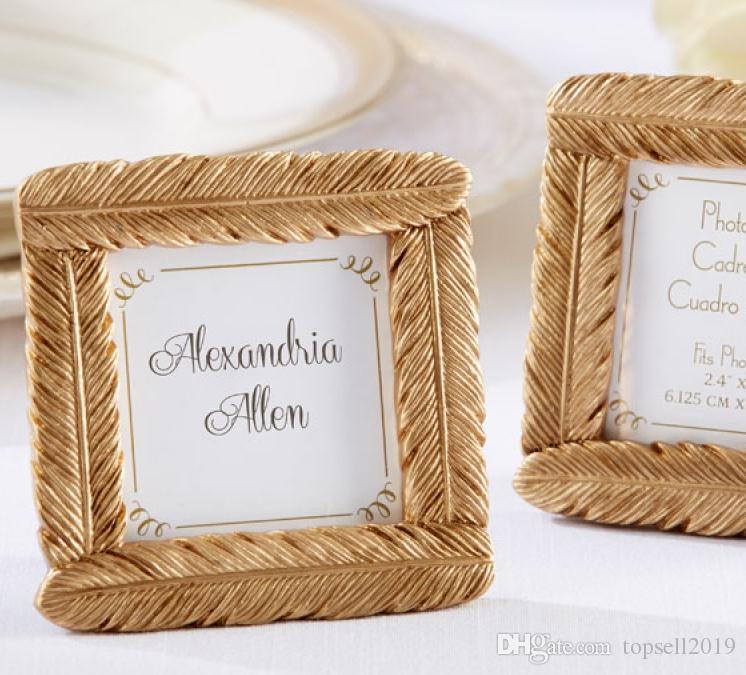 Ślubna przysługa i prezent ślubny - Najnowszy styl żywicy Złoty Pióro Rama Baby Shower Favors Ramki na zdjęcia 100 sztuk / partia SN658