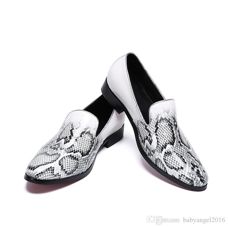 패션 가죽 신발 남성 로퍼 뱀 캐주얼 신발 낮은 굽 세미 정장 운전 신발 슬립