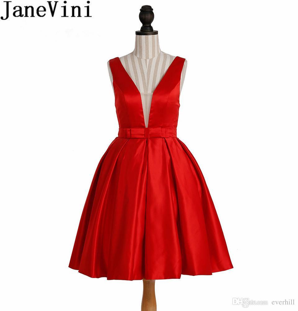 großhandel janevini sexy rotes kleid für die heimkehr kurzen satin tiefem v  ausschnitt 2018 illusion zurück abendkleider juniors party prom vestidos