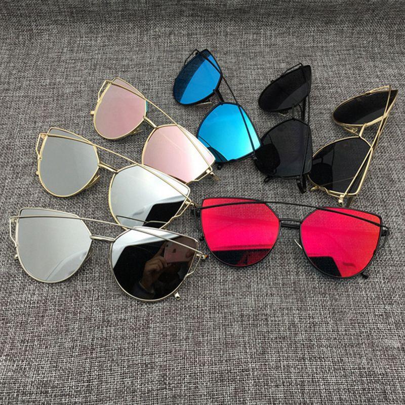 Sun Cat Women Vintage Lady Cateye Flat Rose Gold Eye Fashion Mirror New Glasses Sunglasses Eyewear Pink Rrpxh