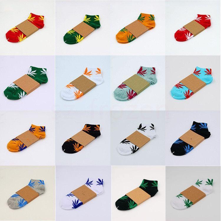 20 colores de la Navidad Niños plantlife calcetines calcetines de algodón de alta calidad para las mujeres de hombre de deporte del monopatín hoja de arce hiphop calcetines A-603