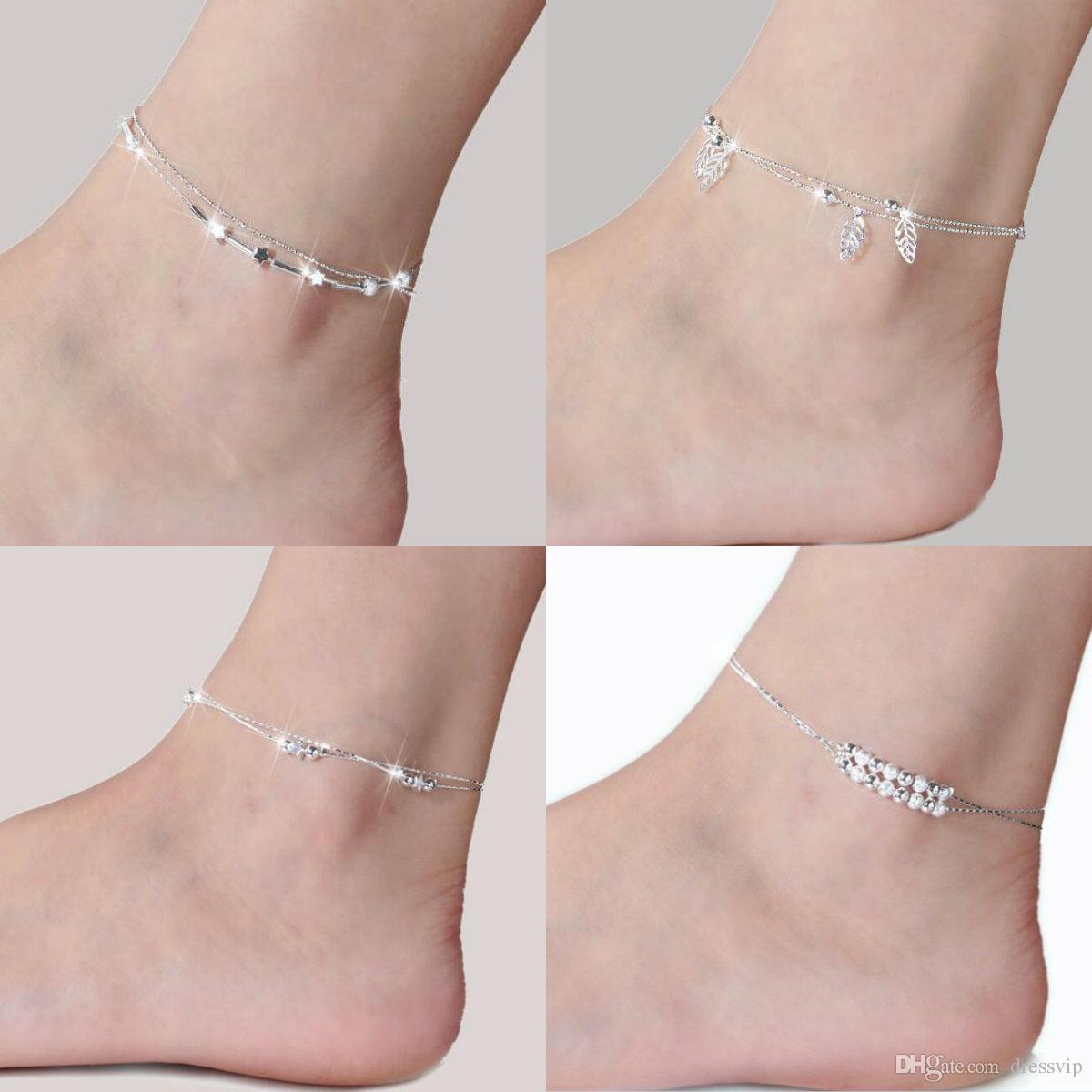 Moda Kadınlar Bayanlar Kızlar Için 925 Ayar Gümüş Halhal Benzersiz Güzel Seksi Basit Boncuk Gümüş Zincir Halhal Ayak Bileği Ayak Takı Hediye Düğün