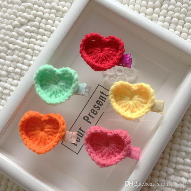 Boutique de mode Mignon Crochet Coeur Pinces à cheveux Kawaii solide bonbons couleur Mini coeur Barrettes Headware Accessoires cheveux
