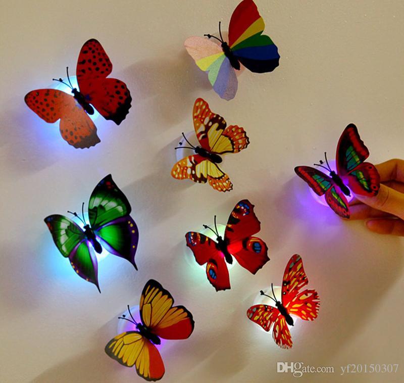 Etiquetas engomadas de la mariposa 3D con la almohadilla de succión Cambio colorida de la mariposa LED Luz de la noche Lámpara Home Room Party Desk Decoración de la pared