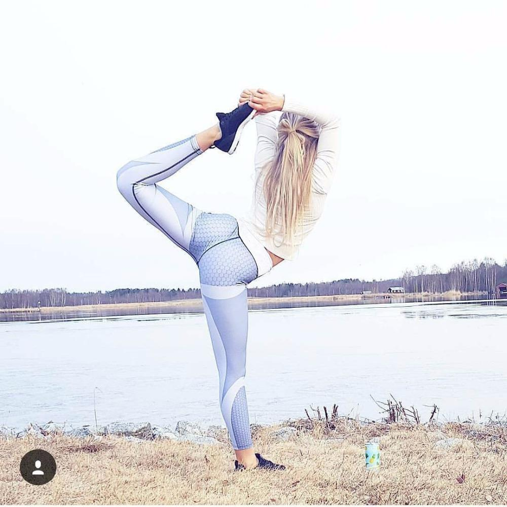 Nouvelle Maille Motif Imprimer Leggings Fitness Leggings Pour Les Femmes Sportive Séance D'entraînement Leggins Pantalon Élastique Mince Noir Blanc Pantalon Vente Chaude