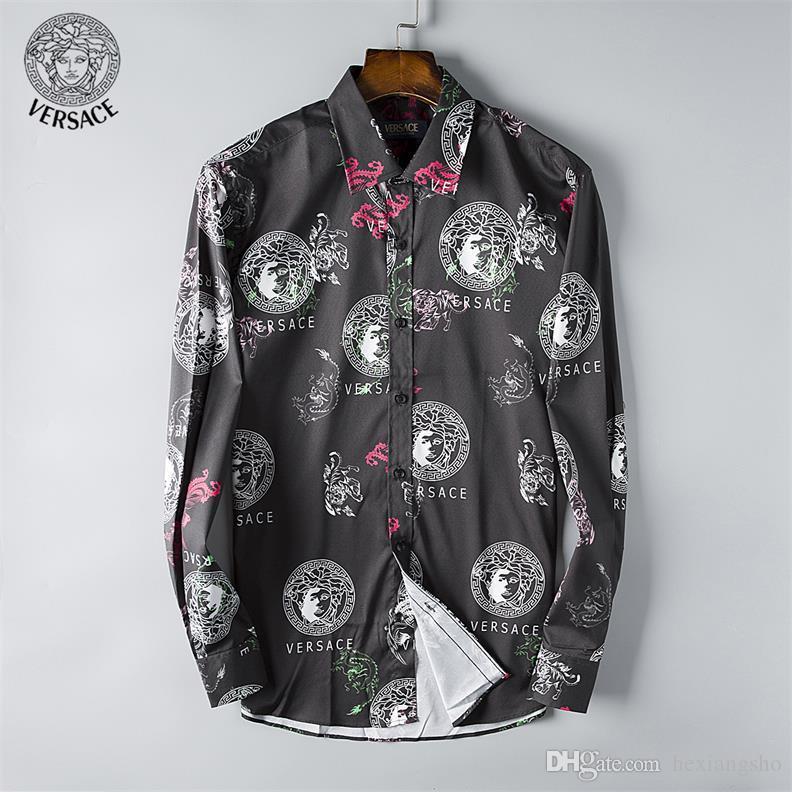 Nueva 2018 camisa de manga larga para hombre, estilo masculino, moda de ocio europea y americana, diseñador superior, mano de obra exquisita C39