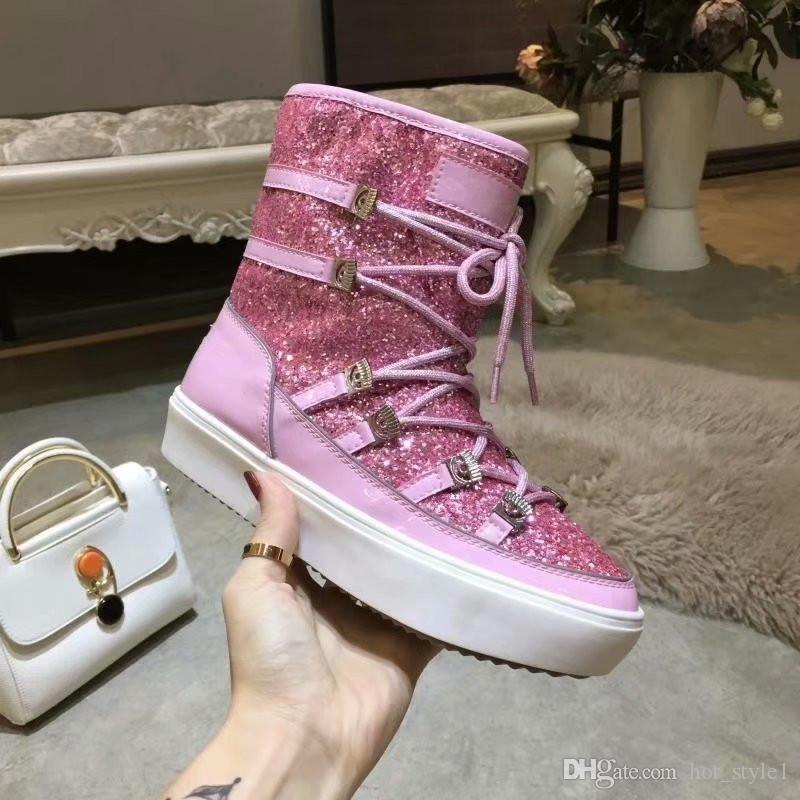 Winter Woman Round Toe Thick Bottom Warm Snow Boots High Top Lace Up Glitter Non-Slip Warm Boots Sequined Eye Hair Boots Size 35-41