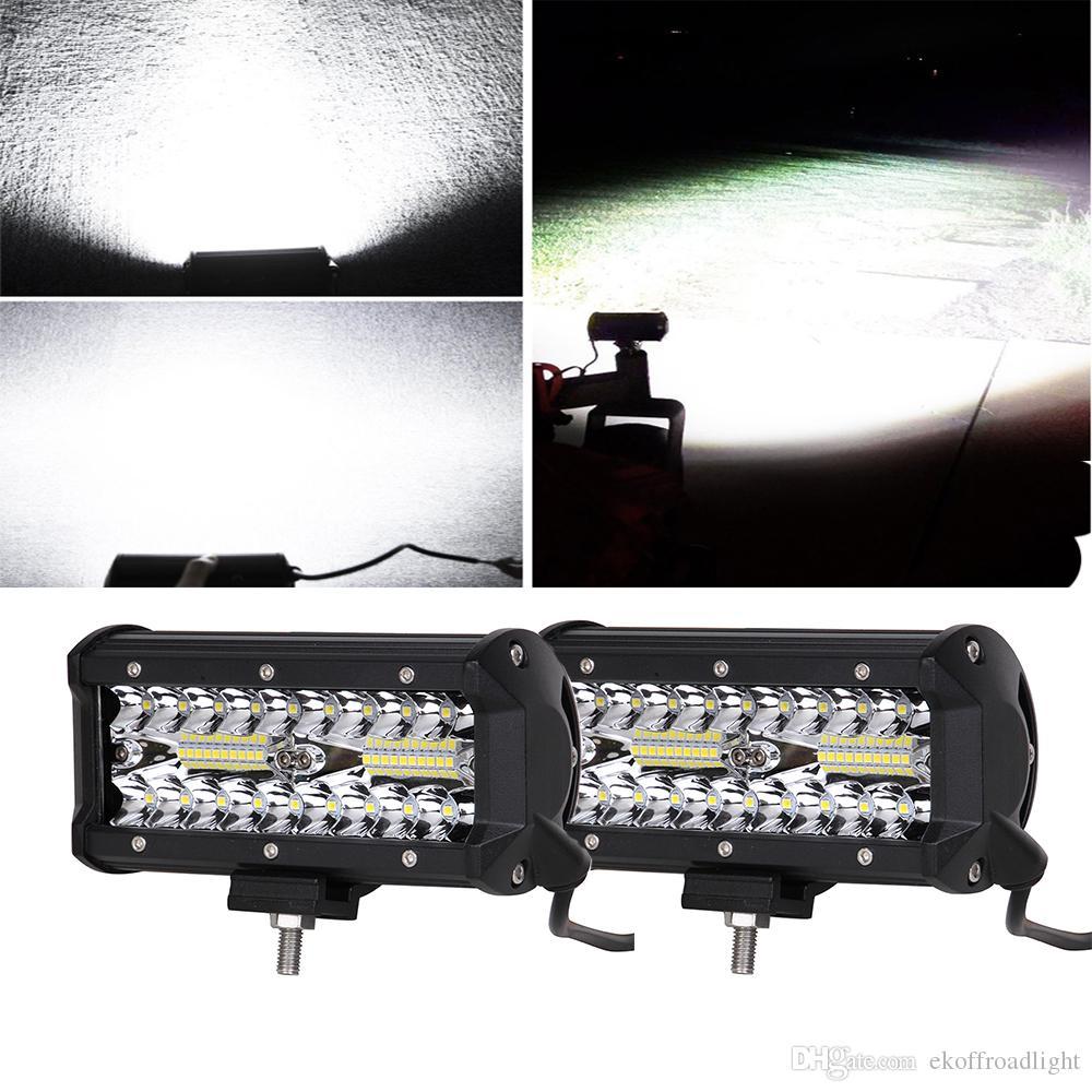 ECAHAYAKU 2x 7 pollici 120 W combinati barre luminose a led fascio di inondazione per lavoro guida fuoristrada trattore camion 4x4 SUV ATV 12V 24V