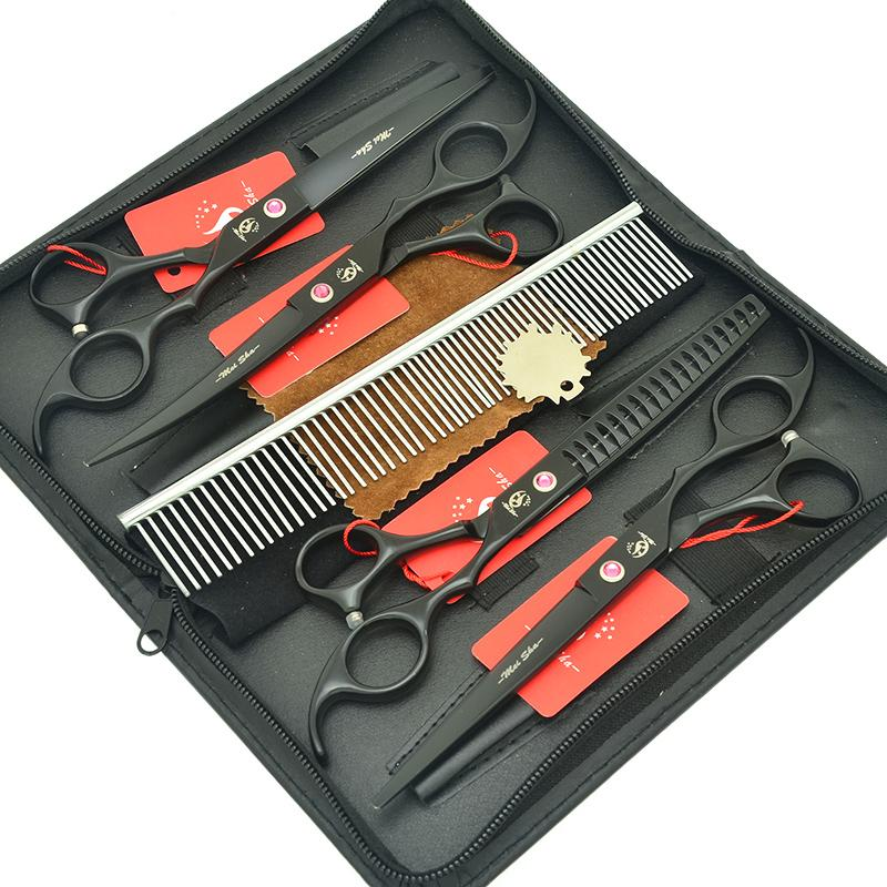 7.0 Inch Meisha Black Animal Hair Cutting Trimming Scissors JP440C Fish Bone Thinning Shears Pet Dogs Grooming Clipper Tools Comb Set HB0152