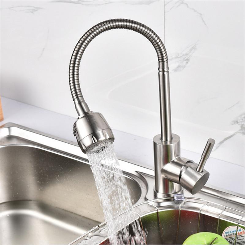 2019 304 Stainless Steel Kitchen Faucet Mixer 360 Swivel Spout Single  Handle Kitchen Sink Tap Basin Tap Wall Faucet From Almondor, $60.41 |  DHgate.Com