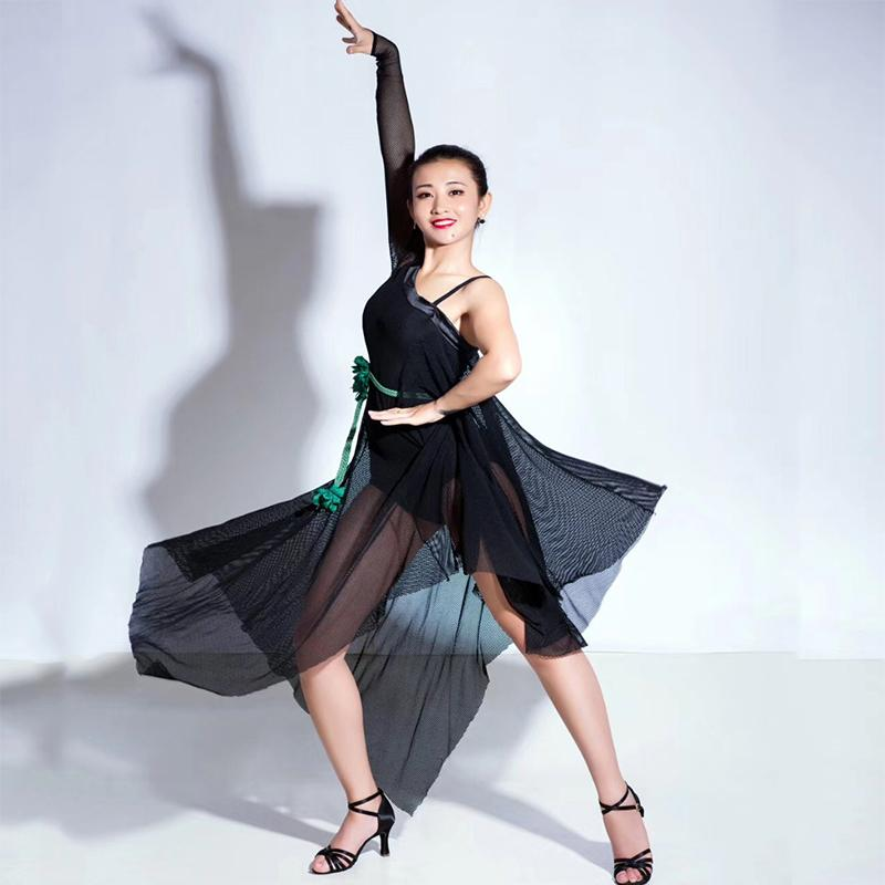 Mulheres Vestido de Dança Latina Senhora Manga Comprida Net Fios Sexy Trajes de Palco Roupas Para Salsa Samba Rumba Desempenho Prática Desgaste