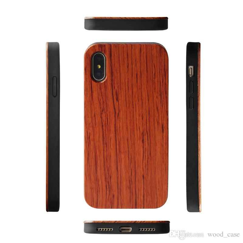 Custom Engraved Hawaii Wood Phone Case For Iphone 6 7 8 PLUS X xs max XR Natural Wooden Bamboo Soft TPU Back Cover For Samsung S10 S10e