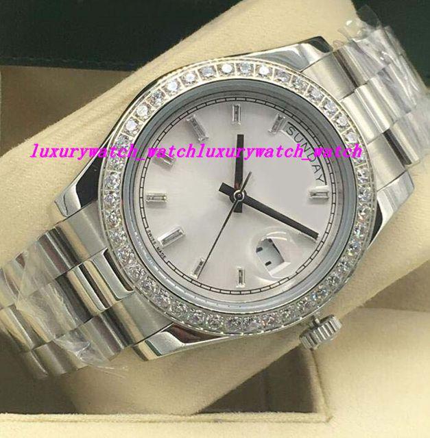 Роскошные часы 4 стиль Алмазный безель мужские 18 K белое золото Алмазный циферблат 41 мм автоматические Модные мужские часы Наручные часы