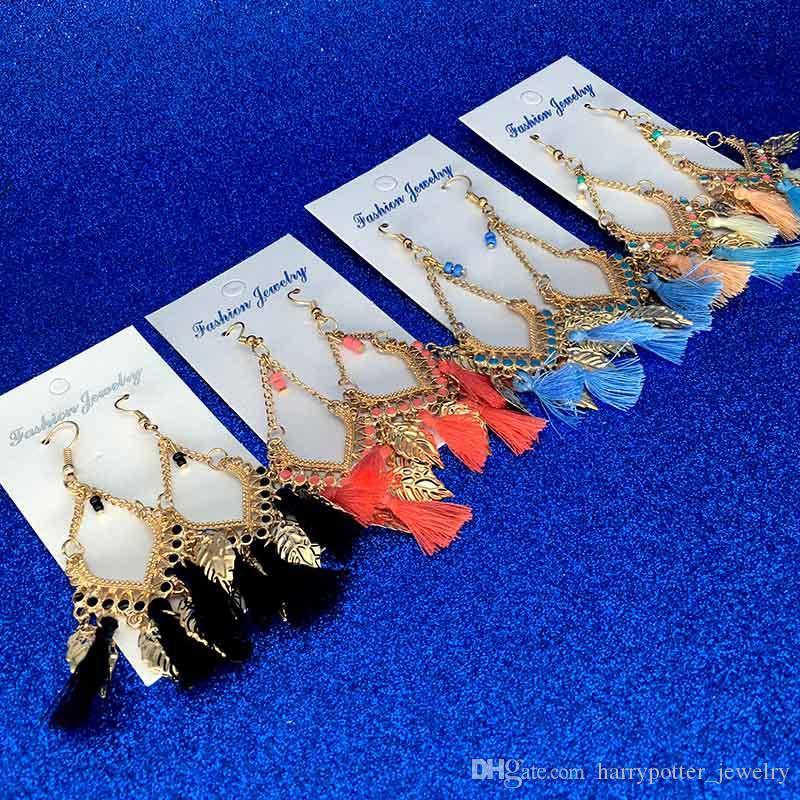 Tassel lustre boucles femmes mode bohême plumes colorées pompons en alliage longues boucles d'oreilles balancent earing cerceau hip-hop drop ship bijoux