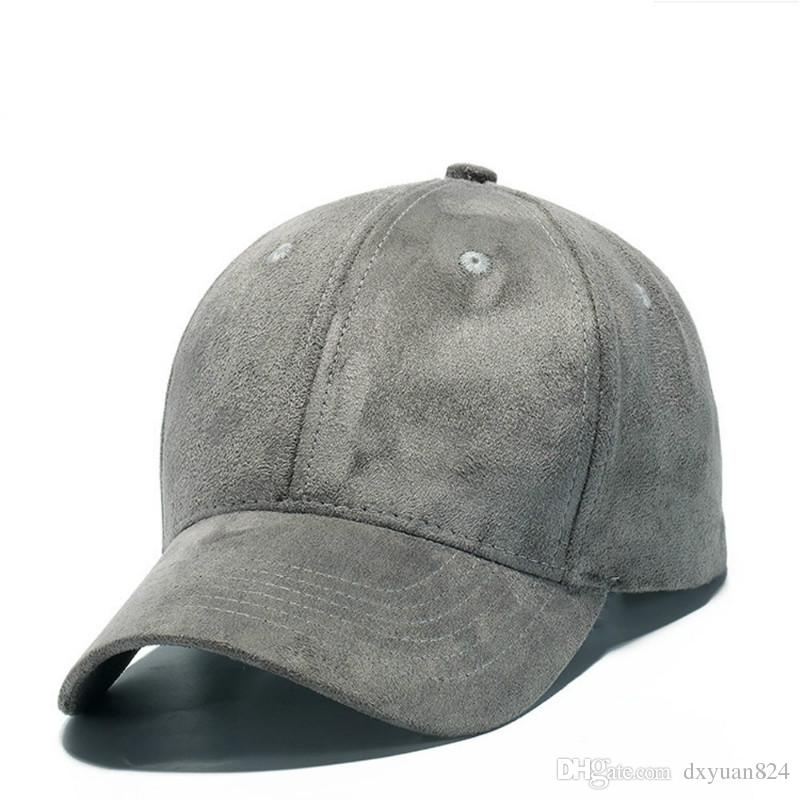 Classic Style Adjustable Unisex Artificial Suede Baseball Cap Low Profile Curved Brim Hat Solid Color for Women//Man Hat