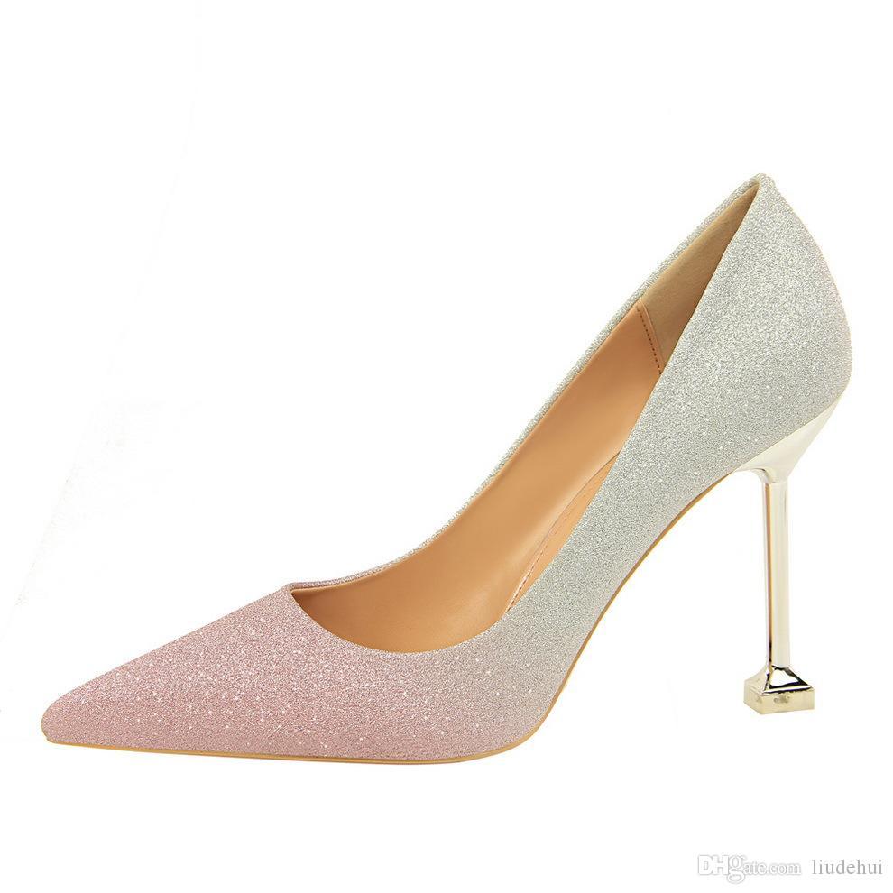 Nueva moda coreana boca baja tacones altos señoras boca baja talón clásico blanco rojo beige sexy prom zapatos de boda