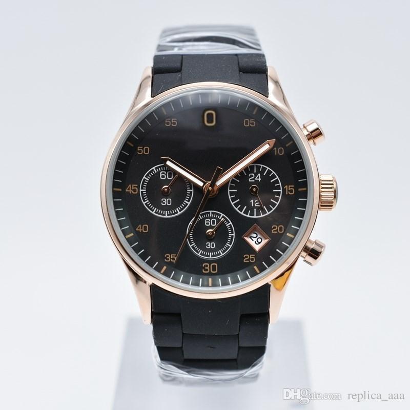 In vendita 36 / 40mm cronografo rivestito in gomma striscia di quarzo moda uomo orologi casual giorno data donne designer orologio regalo amanti orologio da polso
