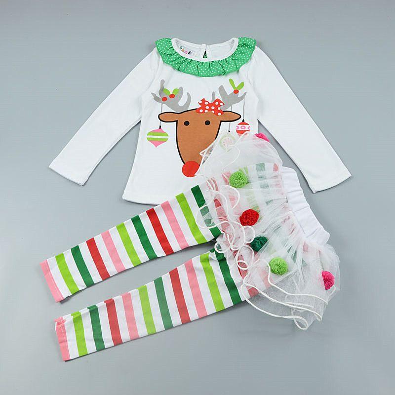 Kids Baby Girls Christmas Infant Toddler Santa Elk Cake Dress 2 Pieces Party US