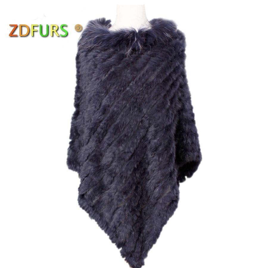 ZDFURS * malha de pele de coelho real poncho plus size gola de pele de guaxinim guarnição moda estilo de pele de rua warps S18101904