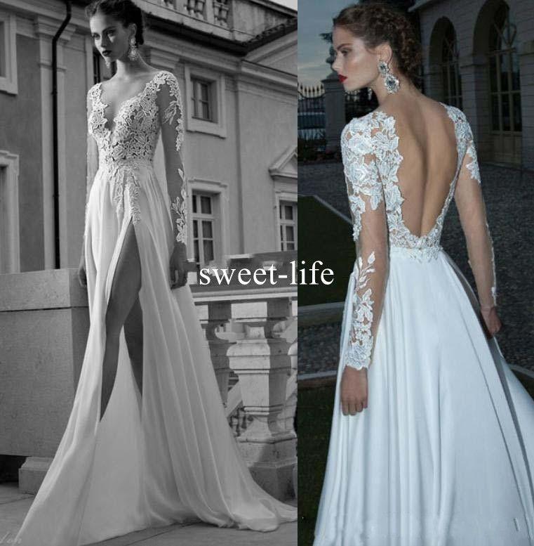 Berta novia de alta Slits 2020 boda de playa de los vestidos sin espalda de Boho de manga larga de los vestidos de novia de encaje apliques de Bohemia por encargo vestidos de novia