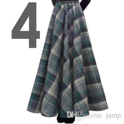 Free Shipping 2018 New Fashion Long Maxi Thick A-line Skirts For Women Elastic Waist Winter Plaid Woolen Skirts Warm With Pocket hot sale