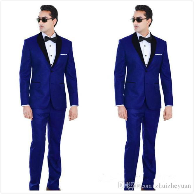 New Cheap Royal Blue Wedding Tuxedos Two Pieces Groomsmen Suit Black Shawl Lapel Prom Suits Two Buttons Mens Suits (Jacket+Pants+Tie)