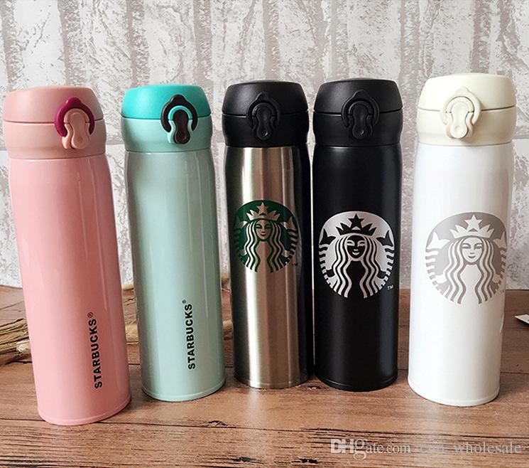 500ml Starbucks Doppia parete in acciaio inox Bottiglia di acqua tazze portatili Tazza di caffè acqua auto isolata Boccali di birra Tazza da caffè Bottiglia di viaggio