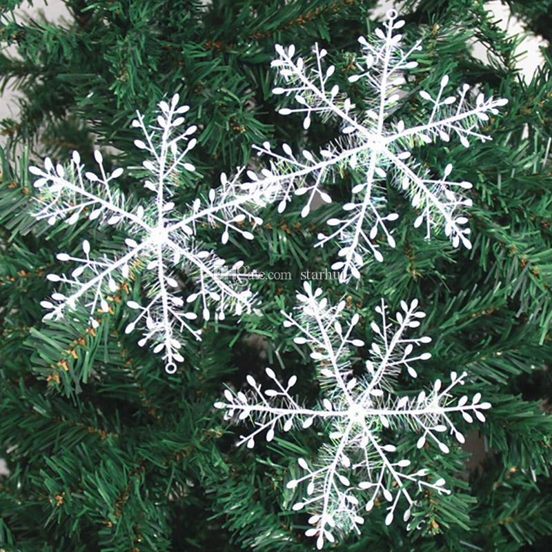 새로운 눈송이 크리스마스 장식 눈송이 크리스마스 트리 펜 던 트 플라스틱 실크 스노우 플레이크 크리스마스 축제 파티 용품 WX9-760