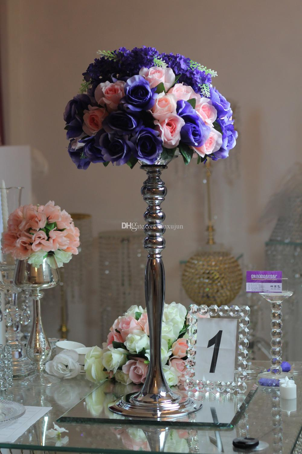Romantic Flower Standing Centerpiece Candlestick Silver Plated Candle Holder Road Lead Wedding Decoration