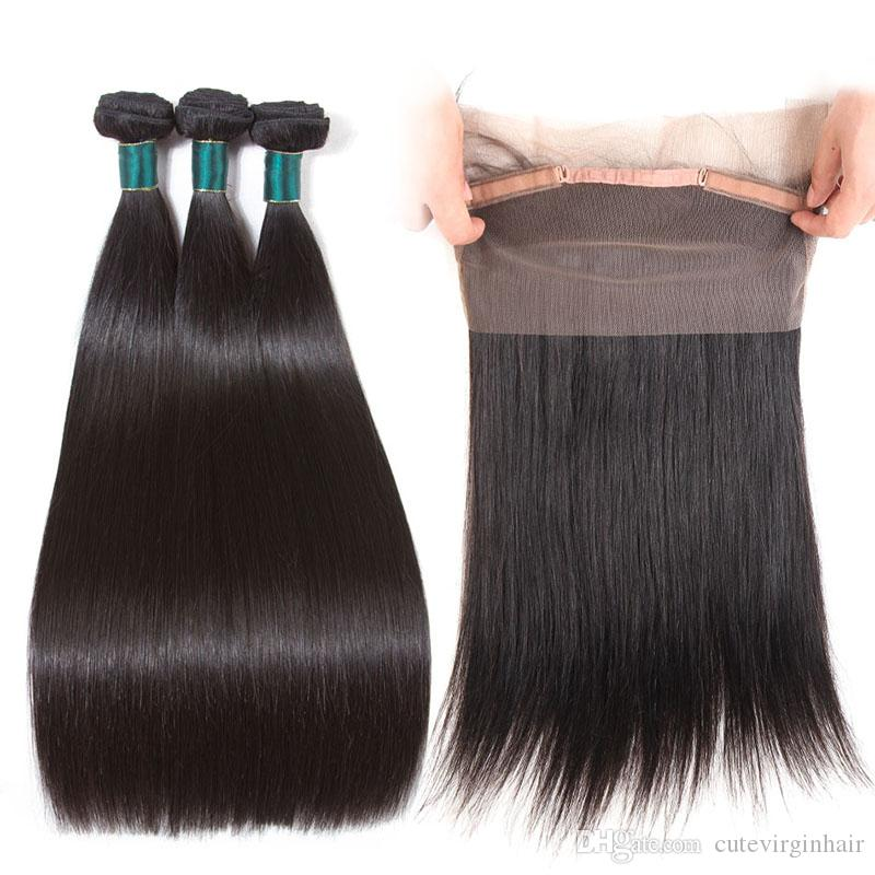 Silky Straight 360 Lace Frontal With Bundles Top Quality Brazilian Virgin Human Hair Weave 3 Bundles With 360 Lace Frontal Natural Color
