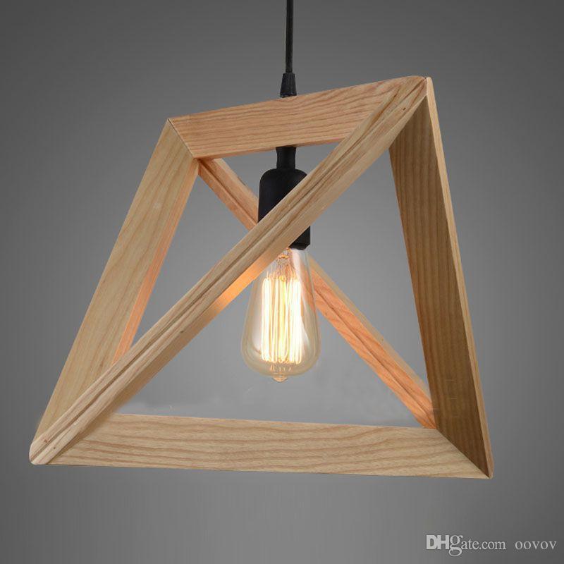Nordic Simple Wooden Triangular Dining Room Pendant Lights Vintage Bar Pendant Lamps Fixtures Cafe Lights Chandelier
