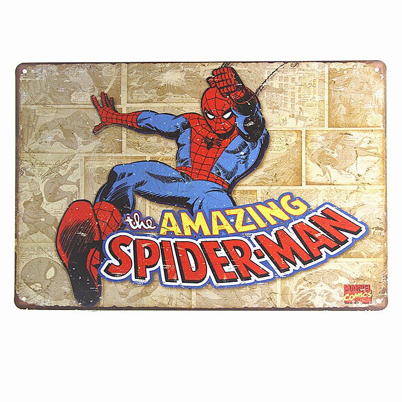 Spiderman Super Hero Marvel Comic Weathered Retro Vintage Style Tin Metal Sign