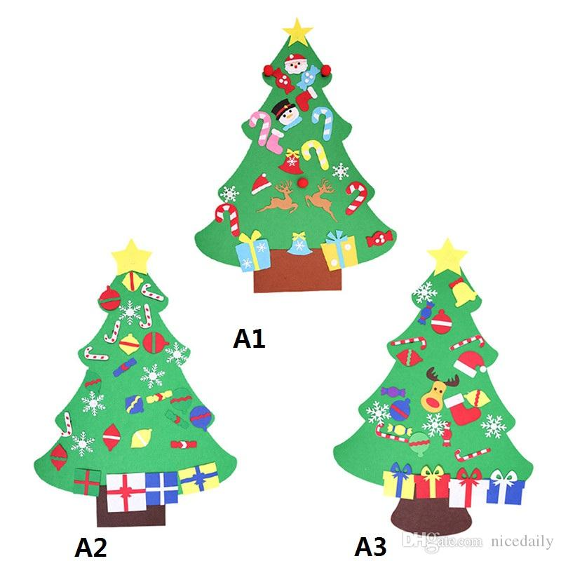 Wholesale DIY Stereo Felt Christmas Tree Decorations Door Wall Hanging Children Kids New Year Gifts for Home Decor Drop shipping