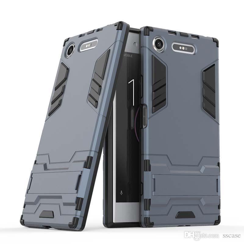 Para sony xperia xz xz1 caso compacto tampa do telefone móvel magro armadura case combinação híbrido capa de luxo 2 em 1 anti choque homem de ferro