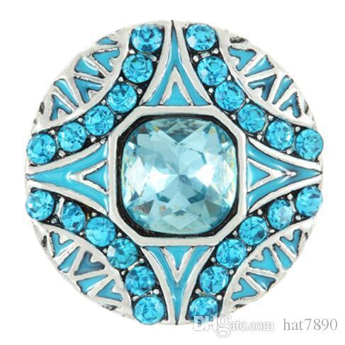 20 pcs / lot Nouvelle vente chaude 18 MM Snap Bijoux Bleu Waterdrop Fleur Strass Rond Boutons Boutons DIY Snaps Bracelet Accessoires Femmes bricolage bouton