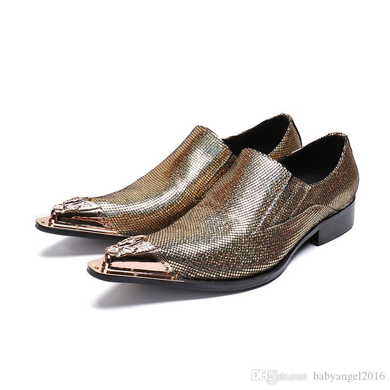 Новые мужские золотые заостренный носок скольжения на подлинных кожаные свадебные туфли мужские бездельников бизнес платье обувь мода случайные партии обуви