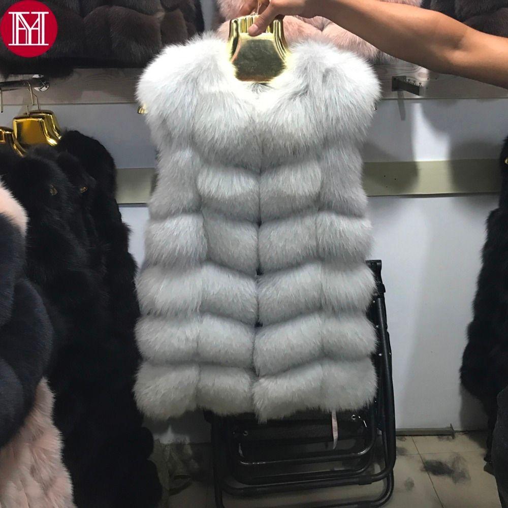 2017 женщины натуральный реальный лисий мех жилет хорошее качество 100%подлинный реальный лисий мех жилеты зима толстый теплый лисий мех длинный без рукавов пальто Y18103101
