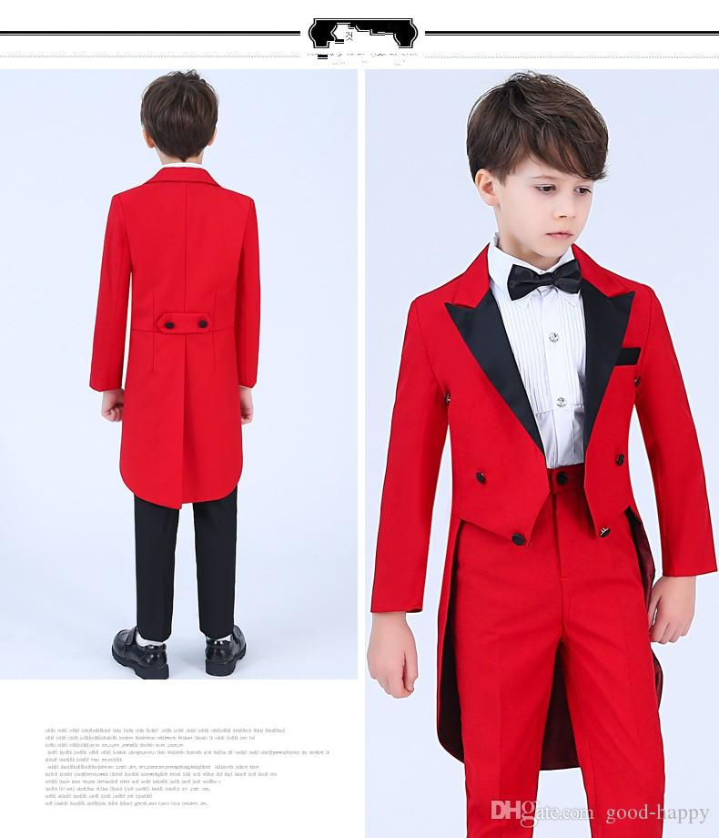 Chaleco rojo Boy Formal Wear Moda Boy Boda Blazer Hermoso Niño Cumpleaños Prom Show Suit (chaqueta + pantalones + Bows Tie + Faja) 62