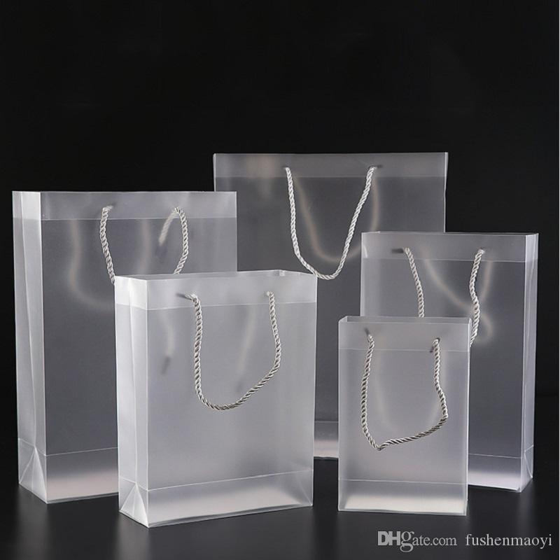 의류 용 무광택 핸드백 화장품 메이크업 축제 선물 및 여행 투명 플라스틱 클리어 백 10 크기 범용 포장