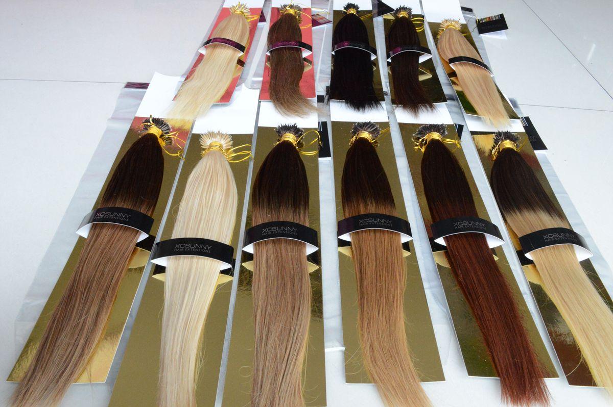 """XCSUNNY 18 """"20"""" estensioni nane dei capelli umani dritte 100 g / pk 100% estensioni dei capelli nane dell'anello dei capelli umani remy indiani + 100 perline"""