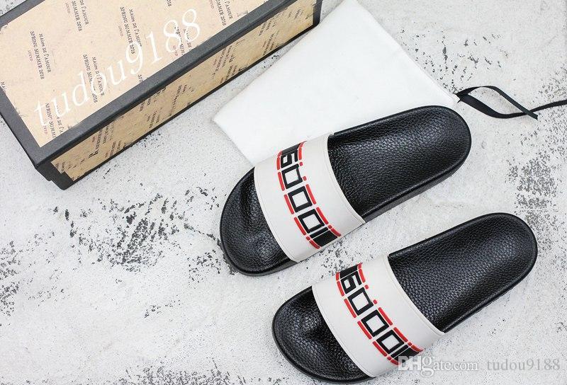 Männer und Frauen Mode Sportmotiv Druck Dias Sandalen Hausschuhe Jungen Mädchen Jacquard Streifen Kausal Flip Flops mit Box und Staubbeutel