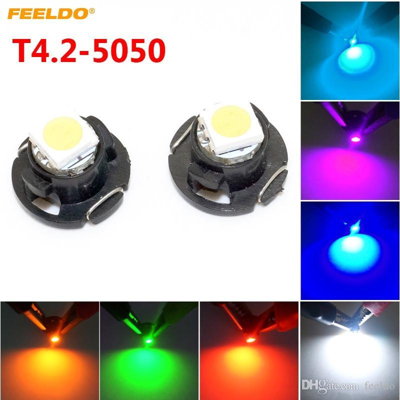 Feeldo 50 قطع السيارات السيارات t4.2 1smd 5050 رقاقة led لوحة العدادات لوحة led ضوء لمبة 7-اللون # 4760