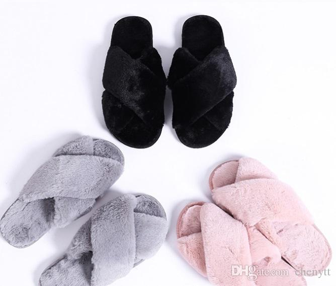 Korean version of floral fashion plush slippers, home indoor thermal cotton towing lady cross autumn winter slippers