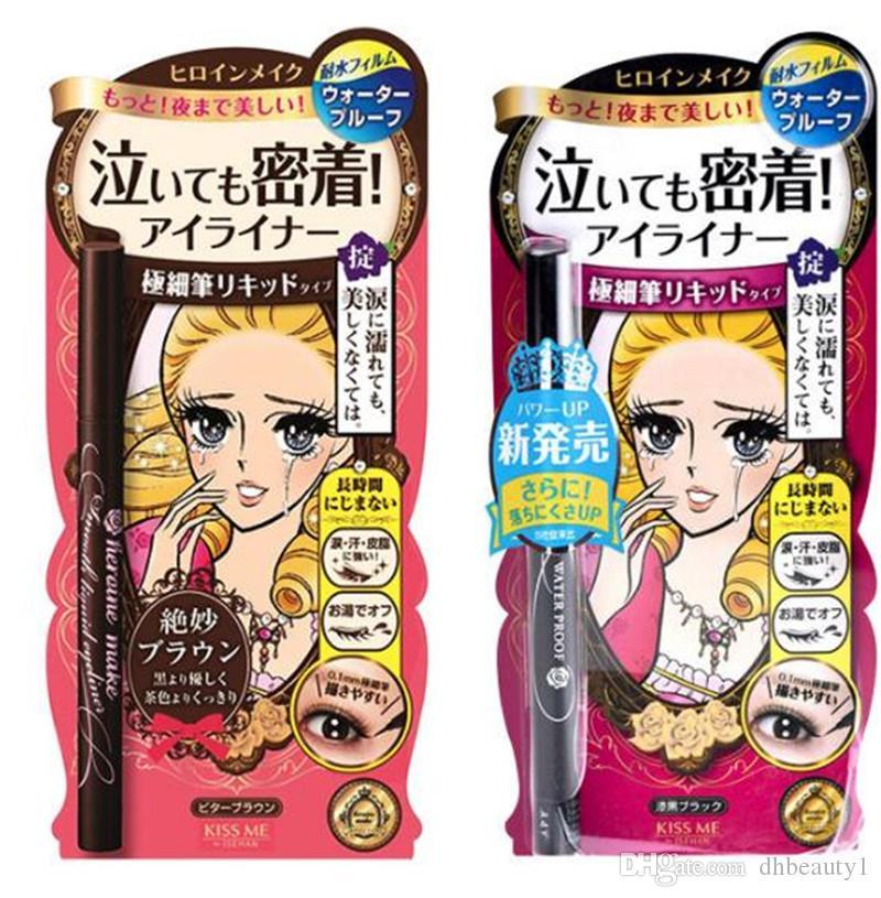 일본 브랜드 KISSME 얇은 액체 아이 라이너 연필 블랙 브라운 색상