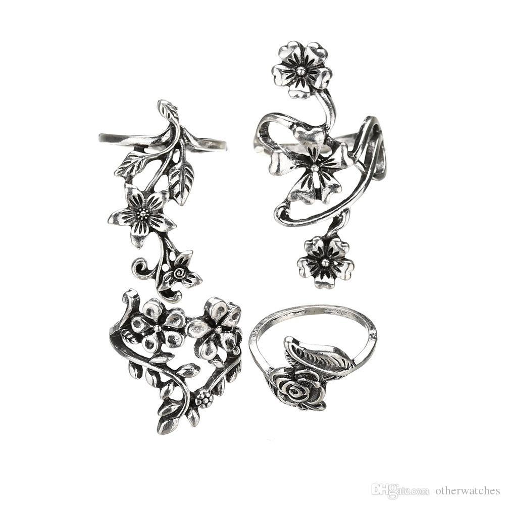 Популярная женская модная личность древние серебряные полые цветочные кольца