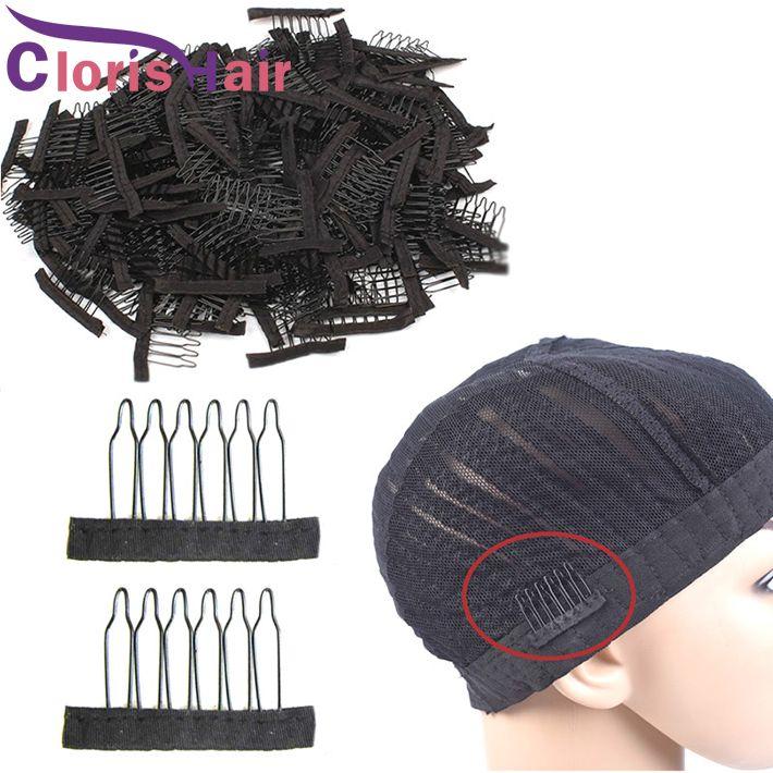 Viculos de peruca de laço de aço inoxidável 6 dentes poliéster Durable pano peruca pentes para capas de cabelo acessórios de peruca ferramentas de extensão do cabelo 10-100pcs