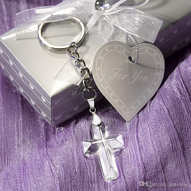 50PCS Choice Crystal Cross Key Chain In Gift Box Religious Party Giveaways Crucifix Keychains Church Wedding Favors FREE SHIPPING