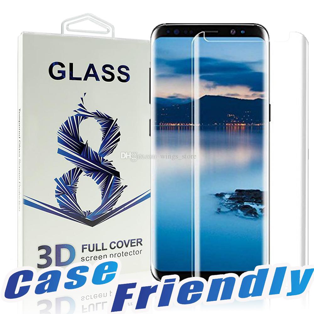 For Samsung S9 S8 plus Case Friendly Tempered Glass Bubble Free Full Cover 3D Screen Protector For Samsung Note 8 9 With Package