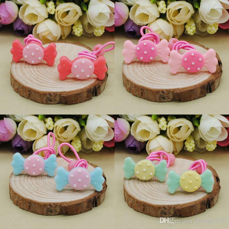 30pcs chicas lindo dulces lazos del pelo Cabeza del lazo del pelo Bandas Cuerdas de chicas titulares de cola de caballo para niño del bebé